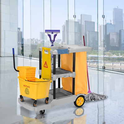 Janitorial Housekeeping Cart Cleaning Trolley Laundry School Hotel Trolley