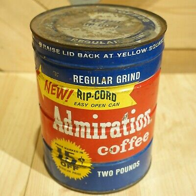 """Admiration Coffee Tin Can 2 Pounds """"NEW! RIP-CORD"""" 10155 - Swanky Barn"""