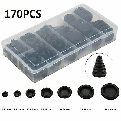 90 x ASSORTED WIRING GROMMET PLUGS 6 to 25MM WIRE CABLE OPEN PANEL BUNG STOPPER