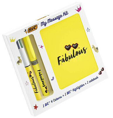 Stationery Kit with 1 BIC Ballpoint Pen 4 Colours// 1 BIC Highlighter Yellow Grip// 1 A6 White Notebook BIC My Message Kit Fabulous Pack of 3