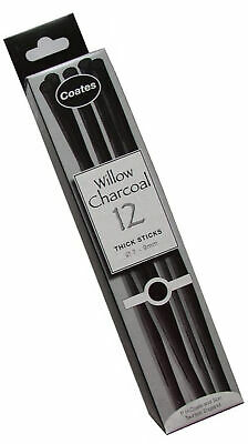Coates 7-9 mm Diameter Willow Charcoal Thick, Pack of 12, Black