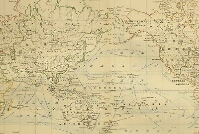 1873 Hand Coloured Map Chart Of The World Ocean Currents Ports Routes