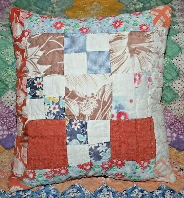 Throw Pillow Made With Vintage Farmhouse Nine Patch Plaid Feedsack Quilt #3