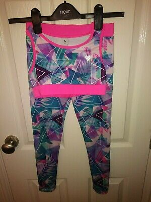 Girls 2 - piece workout outfit, Leggings and matching crop  exercise vest
