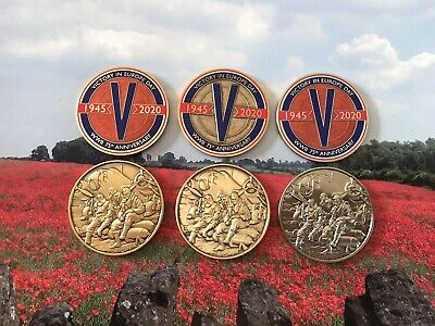 VE Day Geocoin - New (set Of 3 Coins)