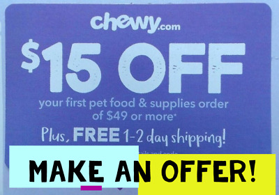 🐾INSTANT delivery🐾 Chewy.com $15 off $49 discount 1Coupon Promo code exp 6/30