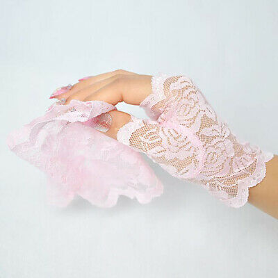 Fingerless Gloves Lace Embroidered Sunscreen Mesh Uv Protecting Half Finger LP