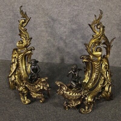 Pair Of Andirons Bronze Golden For Fireplace Period XIX Century 800 Antique