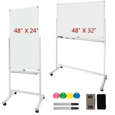 Dry Erase Board Stand Magnetic Sided Whiteboard 360°Rolling Wheels High Quality