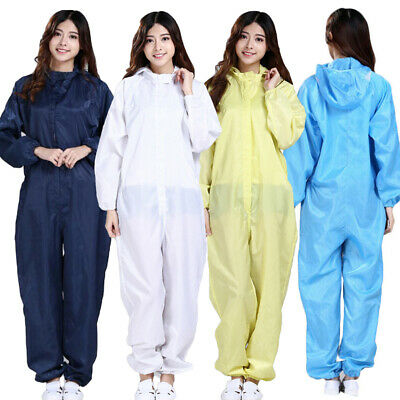 Men Women Hazmat Suit Protection Clothing Laboratory Hood Gown Coverall Safety