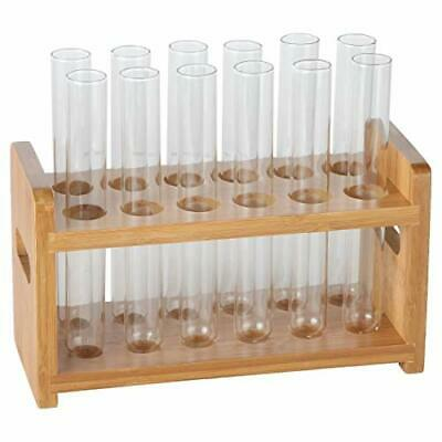 Lily's Home Bamboo Test Tube Vial Shot Glasses Holder Rack, Great as Pen Stand,