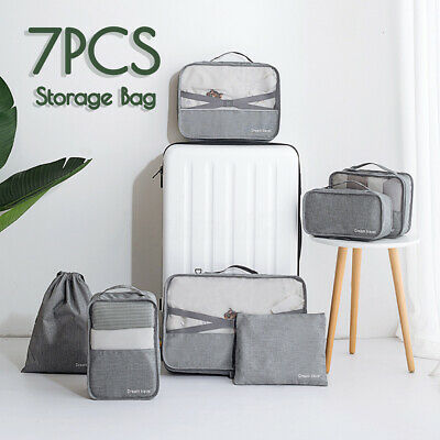 2020 7Pcs Suitcase Storage Bag Packing Cubes Travel Pouches Luggage Organiser AU