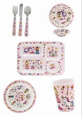 Childrens Melamine Kids Eating Set Friendly Dinner Set Tray Cutlery Cup Plate