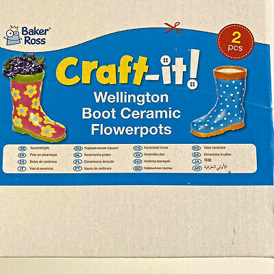 Pack Of 2 Wellington Boot Flower Pot Blanks To Paint And Decorate Craft Projects
