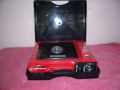 MAX BURTON RED PORTABLE BUTANE BURNER w/ CARRYING CASE