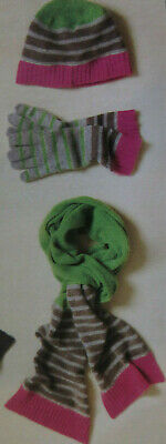 New Boden Wool Blend Fun Knit Hat Scarf & Gloves Pink Green Grey Stripes Stiped