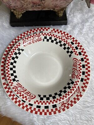 """Vintage 1996 Gibson Coca Cola Plate 10 1/2"""" And Bowl"""