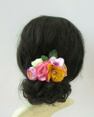 Yellow Pink Green Hibiscus Rose Orchid Flower Hair Comb Fascinator Floral 0330