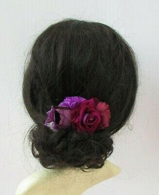 Fuchsia Pink Plum Purple Burgundy Rose Flower Hair Comb Fascinator Floral 0332