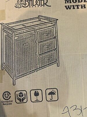 Modern Changing Table with 3 Baskets & Hamper - Gray Open Box