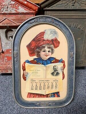Vintage Antique Advertising 1900 DieCut Calendar   Little Girl New Bedford MA