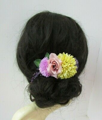 Chartreuse Yellow Blush Pink Purple Rose Flower Hair Comb Fascinator Floral 0337
