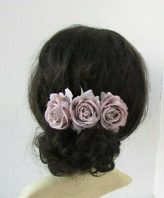 Neutral Nude Taupe Rose Flower Hair Comb Fascinator Floral Wedding Clip 0340