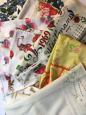 Vintage Kitchen Towels and Aprons Lot ~ Used Items