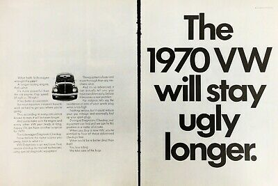1970 VW Volkswagen Beetle Will Stay Ugly Longer Vintage Photo Print Ad