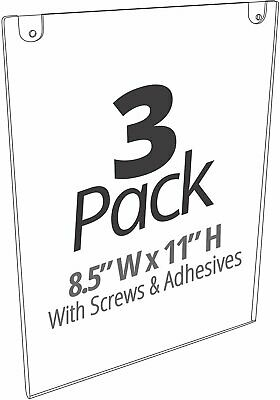 Mammoth Acrylic Paper Sign Holder with Screws and Adhesives (Portrait, 3 Pack)