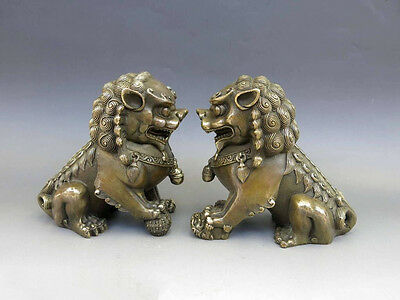 Antiques Oriental Brass Animal Feng shui Foo Dog Lion town house Statue pair