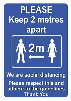 Social Distancing 2 Metres Apart Guidelines Sign or Sticker - choice of size