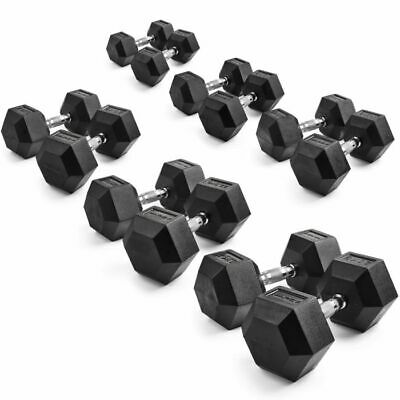 Hex Rubber Dumbbell Weights 1-10kg (Pairs) weight training fitness dumbbells