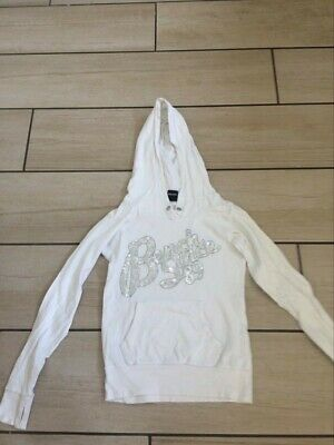 Bench White Hoodie Jumper Sparkly Letters Uk 6 S