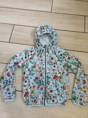 Next Girls Lightweight Jacket Blue With Flowers 13 Years 158 Cm