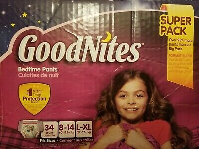 GoodNites Bedtime Bedwetting Underwear for Girls, L-XL, 34 Count~New/Sealed Box