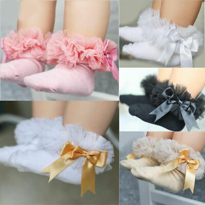 BABY Kids Girls Princess Casual Lace Ruffle Frilly Dress Cotton Ankle Socks hot