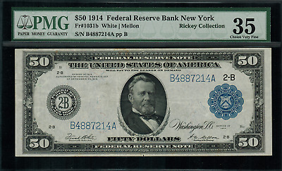 1914 $50 Federal Reserve Note - New York -  FR-1031b - Graded PMG 35 - Choice VF