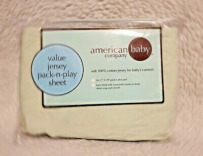American Baby Company Green 100% Natural Cotton Jersey Knit Fitted Pack N Play