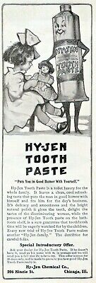 1900 Ad Hy-Jen Chemical Co Anthropomorphic Toothpaste Dental Weird Advertising