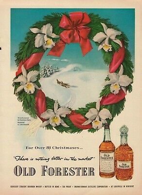 1951 Old Forester Kentucky Straight Bourbon Bottle & Decanter Vintage Print Ad