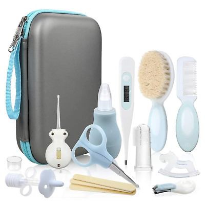 Baby Healthcare Kit Grooming Pouch Set Home First Aid Accessories 15 Piece Blue