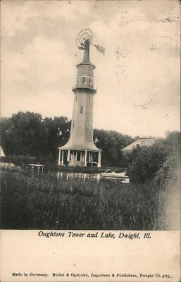 1907 Dwight,IL Oughtons Tower and Lake Livingston,Grundy County Illinois Vintage