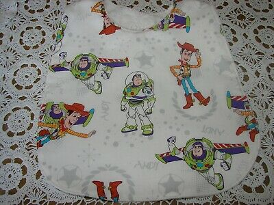 Toy Story White Baby Bib Cotton Front Towelling Back Handmade
