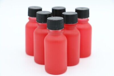 1/2oz 1oz (RED) Glass Bottle with Closed Cap Pack of 6, New