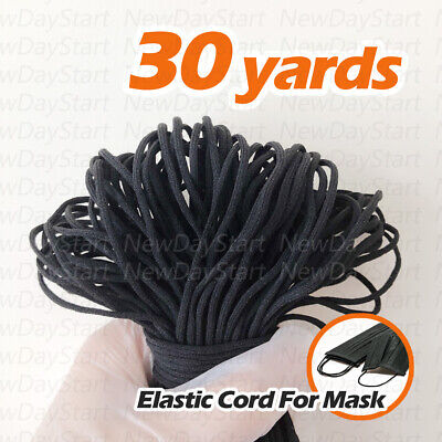 30 yards Black Round Elastic Band Cord Ear Hanging Sewing For Mask Diameter 3mm