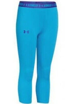Under Armour Heat Gear Junior Solid Capri Leggings Blue Sport Running Size XL