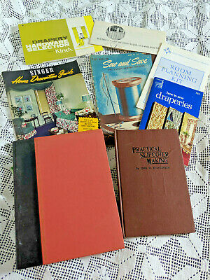 VINTAGE HOME DECOR-MAKING DRAPERIES & SLIPCOVERS SEWING BOOKS & BOOKLET-1938-74s