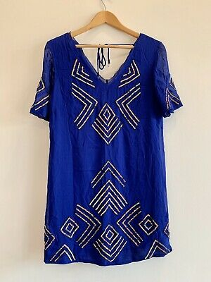 FRENCH CONNECTION Electric Blue Embellished Beaded Summer Shift Dress Size 10