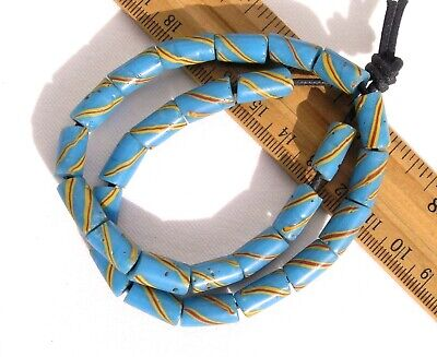 Antique Turquoise Blue Striped Glass Beads African Trade Venetian